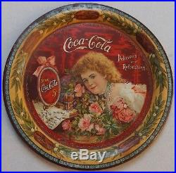 One Of The Rarest! 1901 Coca Cola Hilda Clark Advertising Tip Tray Near Mint Wow