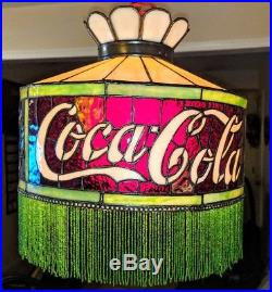 Original 1915-1920 Coca Cola Leaded Shade, Rare Rounded Crown with Beaded Fringe