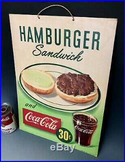 Original 1949 Hamburger & Coca-Cola 30c Cardboard Litho Advertising Diner Sign