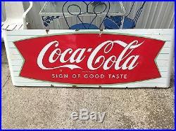 Original 1950s Porcelain retro Coca-Cola 6 Foot Fish Tail Sled sleigh Diner Sign