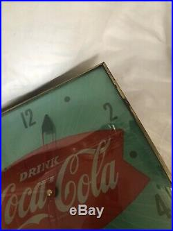 Original 1960s Pam Clock Co. Coca Cola Green Fishtail Lighted Clock Works Great
