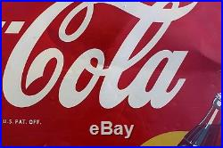 Original Authentic Vintage tin Drink Coca-Cola painted sign dated July, 1949