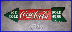 Original Coca Cola Double Sided Die-Cut Arrow Sign, Vintage Coke, Advertising