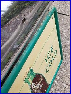Original Ice Cold Drink Coca Cola Fishtail 54 Sign Coke Soda Bottle Painted Tin