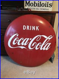 Original Large Drink Coca-Cola Porcelain Button Sign 36 Mounting Holes Intact