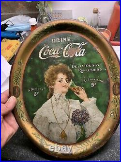 Original vintage 1906 dated Coca Cola bottle tray & matching tip tray