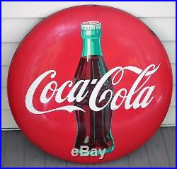 Pair of matching 1950's Coca-Cola 24 tin button signs with bottle AM22