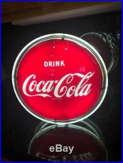 RARE VINTAGE 1950's COCA-COLA HALO 2 SIDED 16 METAL LIGHTED SIGNWORKS WithBOX