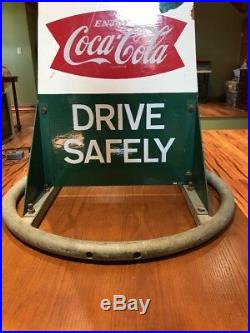 RARE Vintage Antique 1950s Coca Cola Wooden School Zone Sign Completely Intact