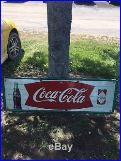 Rare 1960's 53 3/4 Coca Cola Fish Tail Sign Withcoke Can
