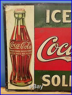 Rare Antique 1915 ORIGINAL Coca-Cola Sold Here Embossed Tin Coke Sign with Bottle