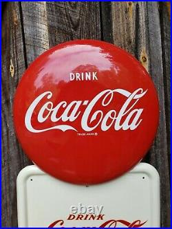 Rare Coca-Cola Pilaster Sign. Painted Metal With Decals! 54inx16in