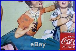 Rare Extra Large Coke Time Retail Advertising Poster Framed Coca Cola Sign