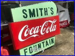 Rare HARD TO FIND DOUBLE -SIDED COCA-COLA FOUNTAIN SERVICE SIGN 60X 58X 5