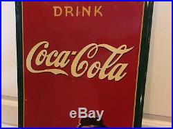 Rare Original 1941 Drink Coca Cola Embossed Tin Sign Delicious And Refreshing