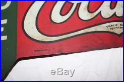 Rare Vintage 1927 Sold Here Coca Cola Ice Cold Soda Pop 2 Sided 30 Metal Sign
