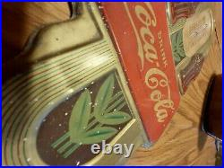 Rare Vintage 1941 Coca Cola Soda Pop Gas Oil Embossed Metal Thermometer Sign