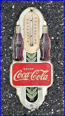 Rare Vintage 1941 Coca Cola THERMOMETER DOUBLE Soda BOTTLE Advertising Sign