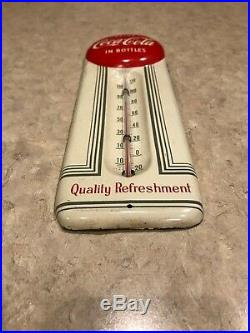 Rare Vintage 9 COKE CocaCola Red Button in Bottles Metal Embossed Thermometer