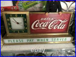 Rare Vintage Coca Cola Fountain Shop Light up Clock PLEASE PAY WHEN SERVED