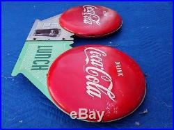 Rare Vintage Pair of Coca Cola Button Flange Signs 1950's