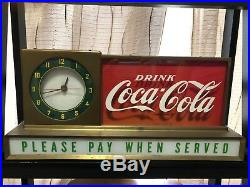 Rare and Vintage Coca Cola Fountain Shop Light up Clock