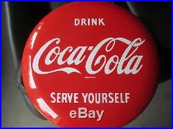 Rare old Coca-Cola Button Sign 12 Porcelain NM SERVE YOURSELF