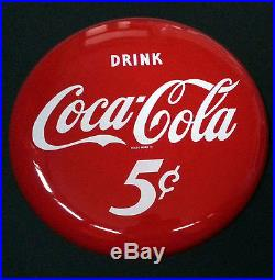 Red 16 Coca Cola Porcelain Button Sign in MINT Condition Beautiful Eye Appeal