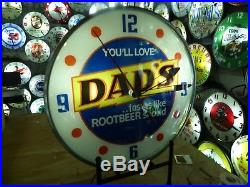 Restored Dad's Root Beer Lighted Pam Advertising Clock Sign Soda Pop Coca Cola