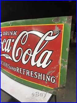 SUPERB 1929 60 x 35 DRINK COCA COLA DELICIOUS & REFRESHING PORCELAIN PANEL SIGN