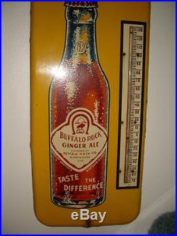 Scarce 1930's BUFFALO ROCK Ginger Ale Cola Soda Thermometer Sign Nice Working
