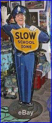 Standing Coca Cola Cop crossing Guard Metal sign with original stand