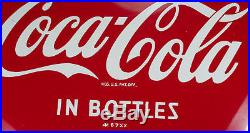 VERY CLEAN 1967 Drink COCA COLA in bottles 12 inch metal button sign
