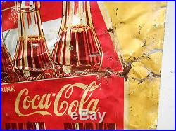 Very Rare Old Coca Cola Coke 6 Pack 42 X 17 Tin Sign No Reserve
