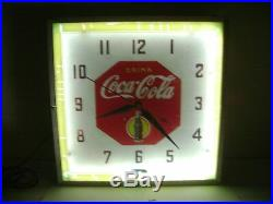 VINTAGE 1930's NEON 15 1/4 COCA COLA ELECTRIC WALL CLOCK