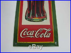 Vintage 1931 Drink Coca-cola 12-1/2 Tall Embossed Tin Metal Sign Dasco