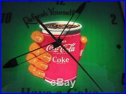 Vintage 1950-60's Coca-cola Refresh Yourself Have A Coke Pam Lighted Wall Clock