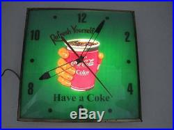 VINTAGE 1950's COCA-COLA REFRESH YOURSELF HAVE A COKE PAM LIGHTED WALL CLOCK