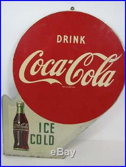 VINTAGE 1950's DRINK COCA-COLA ICE COLD DOUBLE-SIDED METAL FLANGE SIGN