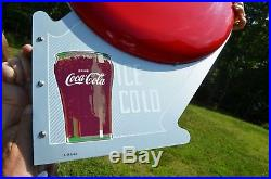 VINTAGE 40s COCA COLA DOUBLE BUTTON FLANGE SIGN IMPOSSIBLE TO FIND DEAD MINT