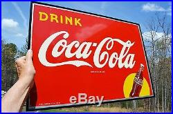 VINTAGE 40s COCA COLA SODA DRINK SILHOUETTE BOTTLE TIN SIGN MINTY UNFINDABLE