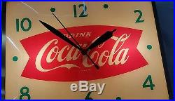 VINTAGE COCA-COLA COKE SODA FISHTAIL LIGHTED DISPLAY PAM CLOCK SIGN 1950s OLD MT
