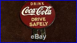 Vintage Coca Cola License Plate Topper 4 3/4 Automobile 4 Sign