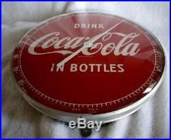 Vintage Coca-cola Round Thermometer Number 495a Made In USA Super Condition