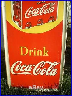 Vintage Coca Cola Sign Early Coke Advertising Metal Large Vertical Tin