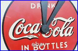 VINTAGE COCA COLA SODA CLOCK with WOOD FRAME SUPER SCARCE BEAUTIFUL WORKS