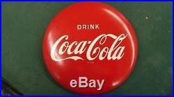 Vintage Drink Coca-cola Am26 Tin Litho Iconic'button' Sign-12-very Nice