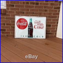 VINTAGE NOS 1950's COCA COLA THINGS GO BETTER WITH COKE SODA BUTTON SIGN