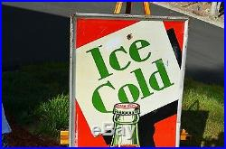 VINTAGE SCARCE 30's ICE COLD COCA COLA SODA SIGN BEST & MOST COLORFUL BOTTLE