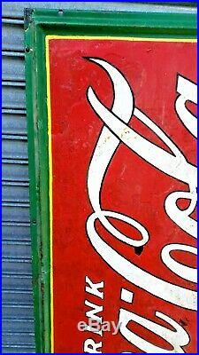 Very Large Original 1930's Coca Cola Pop Gas Station 60 inch Embossed Metal Sign